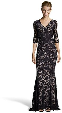 For the Amoret, Wyatt black floral stretch lace 3/4 sleeve v-neck evening gown