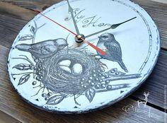 """Часы настенные с ручной росписью """"Мой дом"""" - чёрно-белый,часы настенные Clock, wallclock, vintage clock, romantic, bird, birds, nest, black, white, handmade, design, interior, olenadecor"""