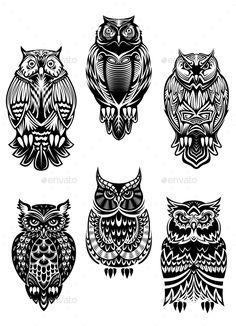 Tribal owl bird tattoo set vector - by Seamartini on VectorStock® Tribal Owl Tattoos, Geometric Owl Tattoo, Maori Tattoos, Caveira Mexicana Tattoo, Owl Tattoo Drawings, Owl Tattoo Design, Halloween Owl, Owl Bird, Tribal Fashion