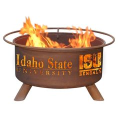 Patina Products - F412 Idaho State University Fire Pit, Idaho State University Bengals, Natural Patina Rust Finish