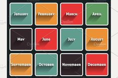 Month flat design. Christmas Icons. $3.00