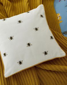 Bee null Cushion , Size One Size Bedroom Cushions, Throw Cushions, Uk Bees, Uni Room, Bedroom Themes, Bedrooms, Bee Design, Bee Theme, Printed Cushions