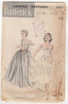 """Vintage 1950s Original Butterick 6989 Off Shoulder Draped Fitted Bodice Pointed Waist Full Circle Skirt Prom Gown Sewing Pattern Bust 30"""" by BizzieLizzies on Etsy"""