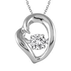Dazzling heart necklace with a moving diamond.  Marshall Jewelry