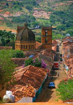 """Beautiful Spanish-Colonial style """"Church of the Immaculate Conception"""" in Barichara, Colombia.(back view)"""