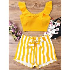 Summer Striped Flat Zipper High Short Scoop Regular Fashion Casual and Going Ruffle Striped Shorts Two Piece Set Cute Summer Outfits, Trendy Outfits, Trendy Fashion, Cute Outfits, Fashion Outfits, Casual Summer, Trendy Style, Summer Dresses, Style Fashion