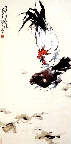 Rooster, hen - by Au Ho-Nien (1935 - ), China. Lingnan School.