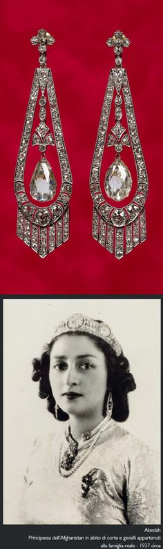Romanov Jewels - A pair of antique platinum and diamond pendant earrings. With French hallmarks. Acquired by the Afghan royal family directly from a member of the Romanov family. #Romanov #antique