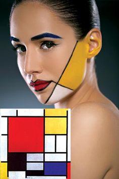 """PIET MONDRIAN BY MAX FACTOR. Mondrian encontró la estructura básica del universo en la abstracción geométrica. Esta supuesta """"retícula cósmica"""" era representada con planos geométricos de colores primarios, considerados como los elementales del universo. Maquilló Guillermo Zelisñak con productos Max Factor. Peinó Andrea Lopresti para Leo Paparella. Piet Mondrian, Composición con rojo, amarillo y azul, 1921."""