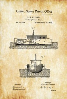 Patent print poster of a Towing Canal Boat invented and designed by DeW. The patent was issued by the United States Patent Office on January A pusher, pusher craft, pusher boat, pus Sailing Decor, Boat Decor, Beach House Decor, Gifts For Sailors, Patent Office, Make A Boat, Patent Drawing, Canal Boat, Vintage Nautical