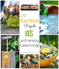 Gardening with kids. Kids Garden projects for spring and summer. Make DIY garden projects kid ideas Diy Garden Projects, Mosaic Projects, Garden Crafts, Projects For Kids, Diy Crafts, Rock Garden Plants, Gravel Garden, Galaxy Projects, Landscape Design