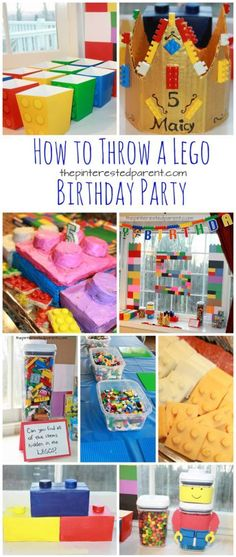 Great Lego themed birthday party ideas for kids. decorations, food and activitie. Lego Party Decorations, Lego Party Games, Lego Themed Party, Kids Party Themes, Birthday Party Games, 6th Birthday Parties, Party Activities, Boy Birthday, Lego Party Foods