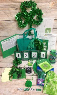 16 Person (4 Tables) St. Patricks Day- Year Round Bunco Kit- Green St. Pattys Day Theme, with additional decor to use all year round  NO