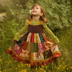 My mom made me a patchwork dress when I was a kid...I loved it!  Persnickety Mossy Woods Patchwork Dress