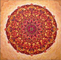 orange mandala kaleidoscope geometric red