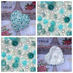 Beaded Heart Bouquet.  Can be made to your wedding colours. For further information please contact us through Facebook using the following link https://www.facebook.com/pages/Bespoke-Wedding-Bouquets/183680988480469