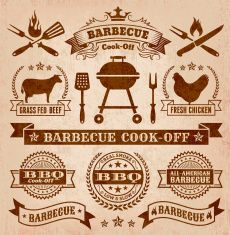 Collection of summer barbecue images vector art illustration