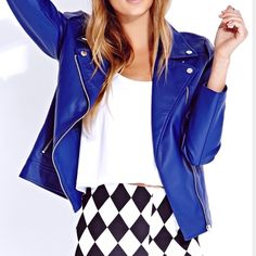 F21 blue vegan leather Moto jacket Chic faux leather jacket in a fun blue color. Size small. In excellent condition Forever 21 Jackets & Coats