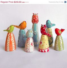 ON SALE Owl and Bird Ornaments Made to by joyelizabethceramics, $22.10