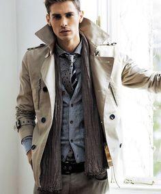 Shop this look on Lookastic:  http://lookastic.com/men/looks/longsleeve-shirt-tie-scarf-cardigan-trenchcoat-belt-jeans-tie/5100  — Grey Print Long Sleeve Shirt  — Grey Polka Dot Tie  — Charcoal Scarf  — Grey Cardigan  — Tan Trenchcoat  — Dark Brown Leather Belt  — Grey Jeans  — Black Vertical Striped Tie