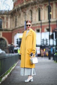 London Street Style That Just Oozes Cool #refinery29  http://www.refinery29.com/2016/02/103453/london-fashion-week-fall-winter-2016-street-style-pictures#slide-5  Our very own editor-in-chief Christene Barberich practicing what she preaches: Grandma shoes are the best....
