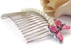 decorated hair comb with glass pearls and butterfly ornament, dressing up accessory, pretty hair slide for girl, flower girl headpiece, prom by KarenJJewellery on Etsy