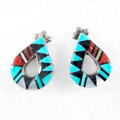 Zuni Inlay Teardrops >>