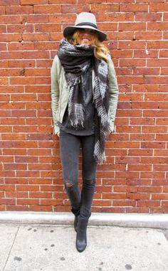 black jeans + sweater, large lightweight scarf, khaki jacket, rugged hat, and boots @dressmeSue pins cool comfort
