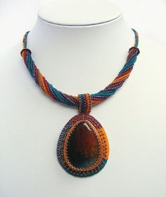 Unique Bead Embroidery Necklace Agate blue by NoraTordaiJewelry
