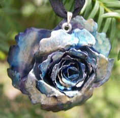 Upcycled Jewelry Recycled Soda Can Rose Pendant19 by EnviMetals, $17.00