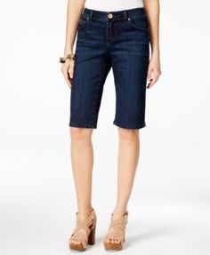 INC International Concepts Bermuda-Length Curvy-Fit Diva Wash Jean Shorts, Only at Macy's