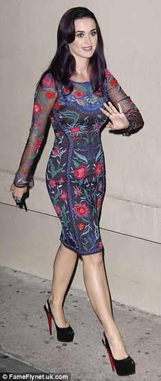 You looks absolutely beautiful Katy... :-) #KatyPerry #fashion #music and #ChristianLouboutin  Keeping things conservative: Katy Perry covers up in a knee-length floral dress as she appears on the Jimmy Kimmel show