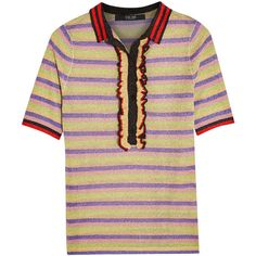 Sibling Striped metallic knitted polo shirt (9.066.620 VND) ❤ liked on Polyvore featuring tops, yellow, flutter-sleeve top, woven top, flounce tops, striped top and multi color tops