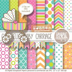 Digital Paper and Baby Shower Clip art girl por LagartixaShop, $5.00 #stroller #carrozzina #babycarriage #invitations #babyshower
