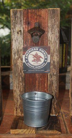 Man cave wall bottle opener, beer opener, bar art, rustic wood bottle opener