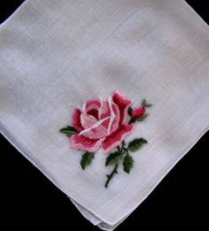 vintage hanky with embroidered rose