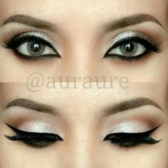 add a wide cat eye with black liquid eyeliner on the upper lash line and a black liner on the lower line. eyeshadow- white/cream shadow below the crease and a dark brown above the crease. Pretty Makeup, Love Makeup, Makeup Inspo, Makeup Inspiration, Fancy Makeup, Simple Makeup, Awesome Makeup, Sweet 16 Makeup, Elegant Makeup