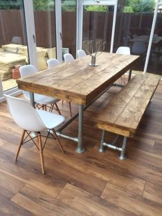 37 Reclaimed Plank Table Ideas not to Miss is part of Rustic furniture Table Restoration Hardware - These reclaimed plank table ideas will help you in figuring out what innovative ideas you can go for Diy Dining Table, Outdoor Dining, Dining Area, Diy Farmhouse Table, Diy Esstisch, Esstisch Design, Industrial Furniture, Rustic Furniture, Diy Furniture