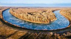 Tiszakêcske es a befagyott tisza folyó