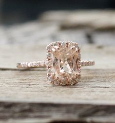 1.83 Cts.Golden Peach Sapphire Diamond Halo Ring in by Studio1040