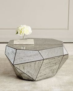 Shop Dimensional Antiqued-Mirror Coffee Table at Horchow, where you'll find new lower shipping on hundreds of home furnishings and gifts. Bone Inlay Side Table, Handcrafted Coffee Table, Interior Decoration Accessories, Mirrored Accent Table, Decorating Coffee Tables, Mirrored Coffee Tables, Wood Furniture Store, Mirror Table, Coffee Table