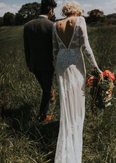 Lisa Lace Backless Boho Wedding Dress | Dreamers and Lovers