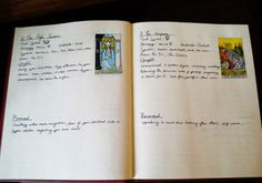 Previous pinner wrote: I definitely want to start a tarot journal.  Inspiration and tips for starting a Tarot Journal (Link to full article)