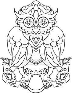 sugar owls tattoos design | Tattoo Design - Antique Owl by yukinko