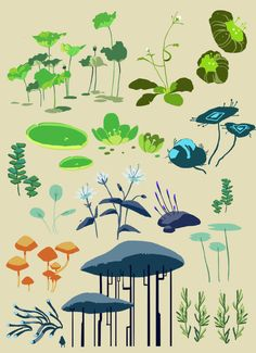 New Games Design Concept Inspiration Ideas Doodle Drawing, Posca Art, Cartoon Background, Digital Art Tutorial, Plant Art, Environment Concept Art, Plant Illustration, Environmental Art, Art Blog