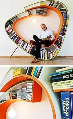 Bookshelf with integral seating; what a fun way to divide a room!