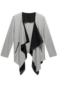 Splicing Grey Knitted Outwear