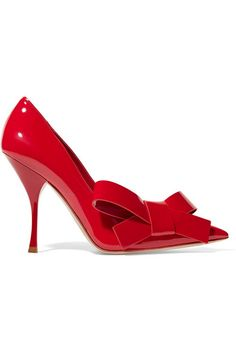 Heel measures approximately 110mm/ 4.5 inches Red patent-leather  Slip on Made in Italy