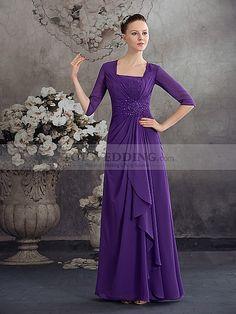Half Sleeved Full Length Beaded Chiffon Mother of the Bride Dress