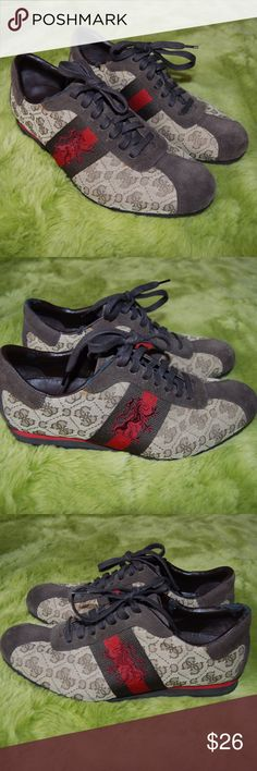 Guess Shoes Sneakers Brown size 9 Guess Men s Shoes Sneakers Brown with red  Stripe Canvas and edefc8e37cc